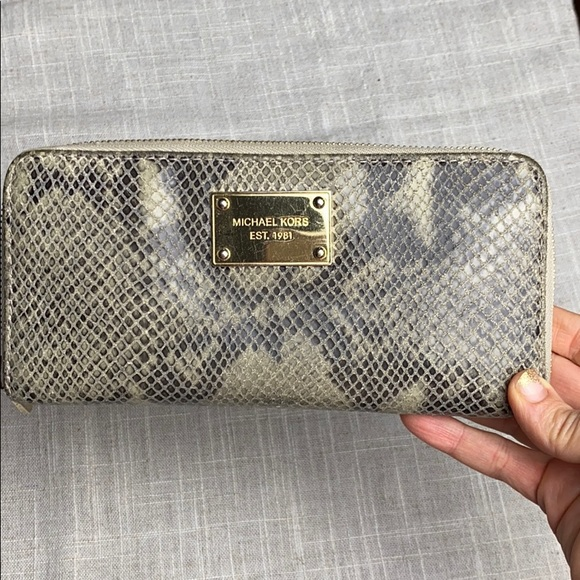 Michael Kors Snakeskin Zip Around Wallet
